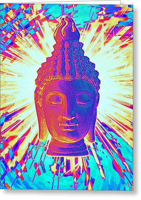 Religious Sculptures Greeting Cards - Sukhothai colorful Greeting Card by Terrell Kaucher