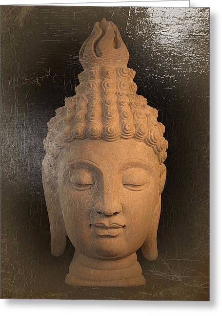 Print Sculptures Greeting Cards - Sukhothai oil paint effect  Greeting Card by Terrell Kaucher