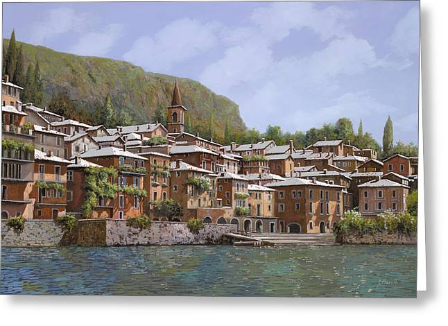 Lake Como Paintings Greeting Cards - Sul Lago di Como Greeting Card by Guido Borelli