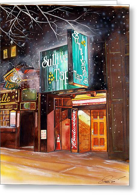 Boston Celtics Drawings Greeting Cards - Sullivans Tap Greeting Card by Dave Olsen