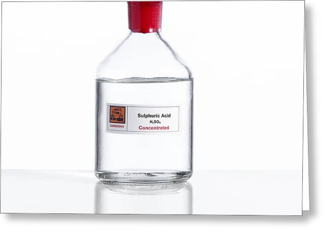 Cut-outs Greeting Cards - Sulphuric Acid, Laboratory Bottle Greeting Card by Spl