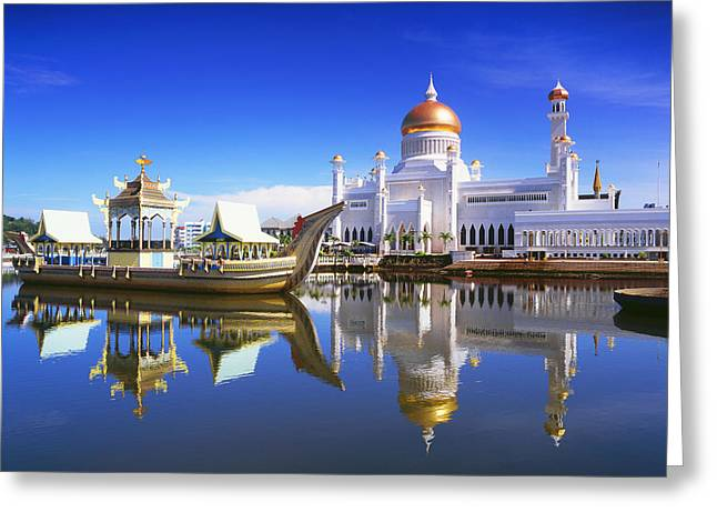 Boats In Reflecting Water Photographs Greeting Cards - Sultan Omar Ali Saifuddien Mosque Greeting Card by David Kirkland