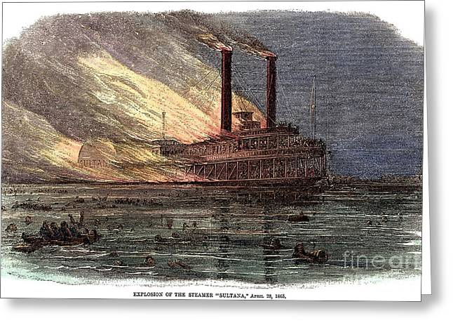 Paddle Wheel Greeting Cards - Sultana Explosion, 1865 Greeting Card by Granger