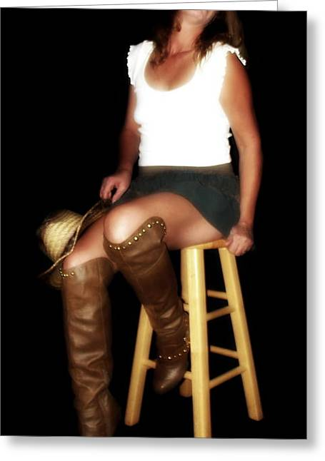 Cowgirl Skirt Greeting Cards - Sultry cowgirl Greeting Card by Colin Nunn