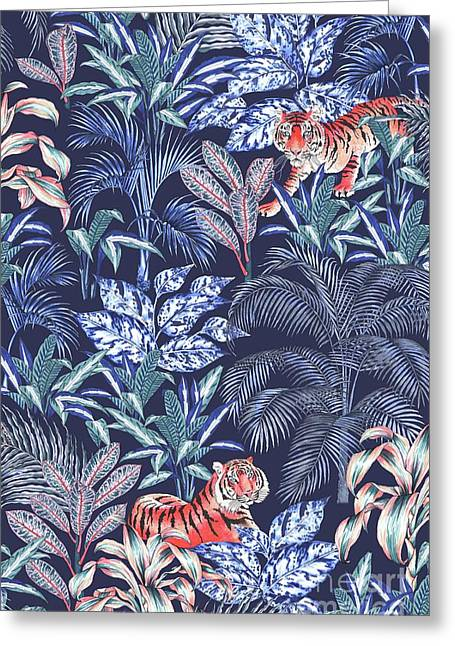 Sumatran Tiger, Blue Greeting Card by Jacqueline Colley
