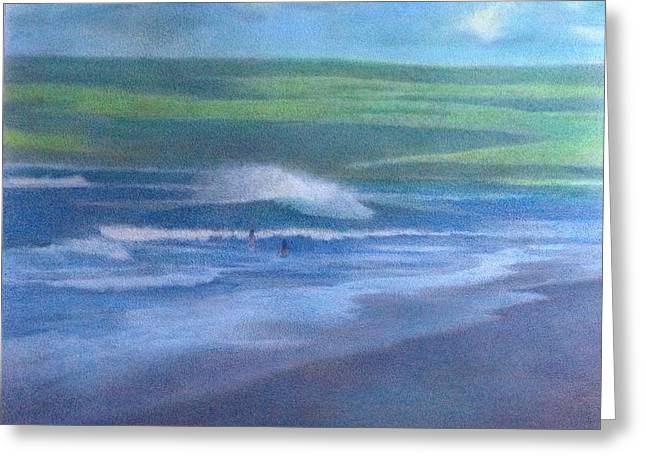 Foggy Ocean Paintings Greeting Cards - Summer Afternoon Greeting Card by Mark  Leavitt