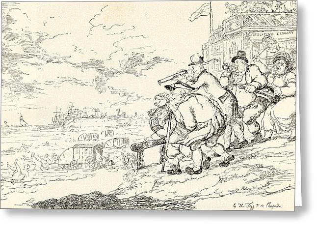Rowlandson Greeting Cards - Summer Amusement At Margate Or A Peep Greeting Card by Ken Welsh