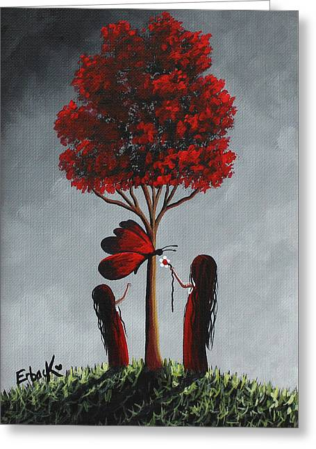 Red And Grey Surreal Art Greeting Card by Shawna Erback