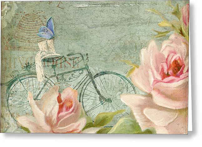 Vintage Bicycle Greeting Cards - Summer at Cape May - Bicycle n Porch Roses Greeting Card by Audrey Jeanne Roberts