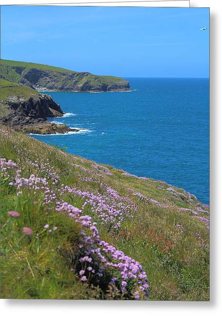 Blue Green Wave Greeting Cards - Summer At The Coast Greeting Card by Rumyana Whitcher