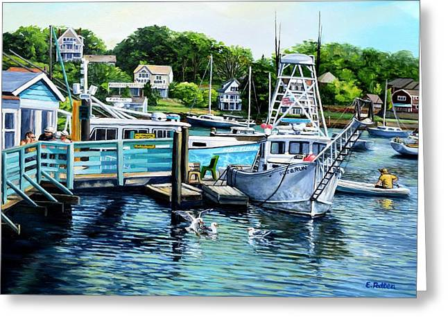 Fishing Boats Greeting Cards - Summer At The Madfish Wharf Greeting Card by Eileen Patten Oliver
