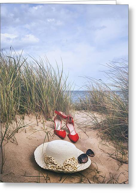 Red Shoe Greeting Cards - Summer At The Sea Greeting Card by Joana Kruse