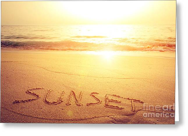 Words Background Greeting Cards - Summer Background Greeting Card by Carlos Caetano