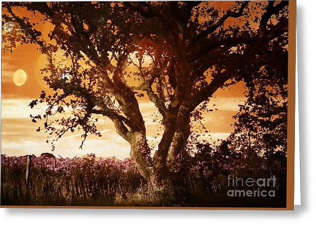 Field. Cloud Greeting Cards - Summer Blaze Greeting Card by Leslie Hunziker