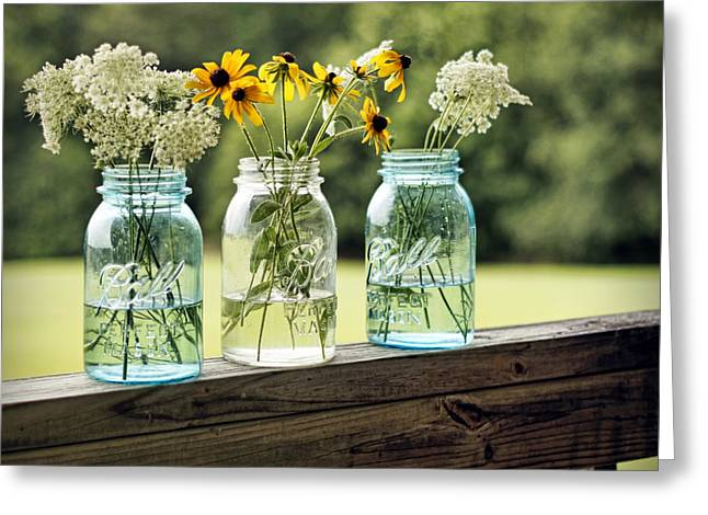 Mason Jars Greeting Cards - Summer Blooms Greeting Card by Cricket Hackmann