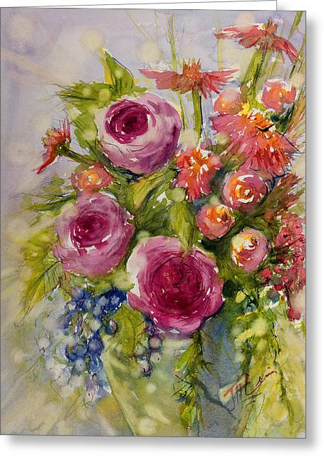 Blueberry Paintings Greeting Cards - Summer Bouquet Greeting Card by Judith Levins