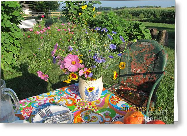 Lawn Chair Greeting Cards - Summer Breakfast In The Garden Greeting Card by Tina M Wenger