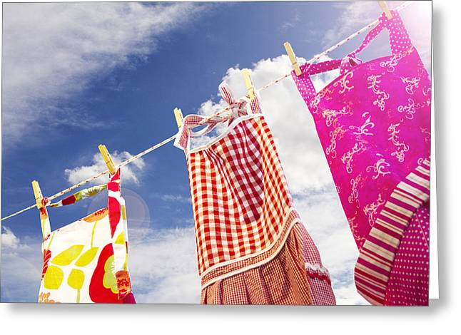 Apron Photographs Greeting Cards - Summer Breeze Greeting Card by Rebecca Cozart