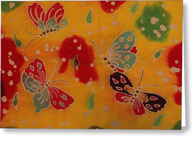 Amazing Tapestries - Textiles Greeting Cards - Summer Butterflies Greeting Card by Budi Mulyawan