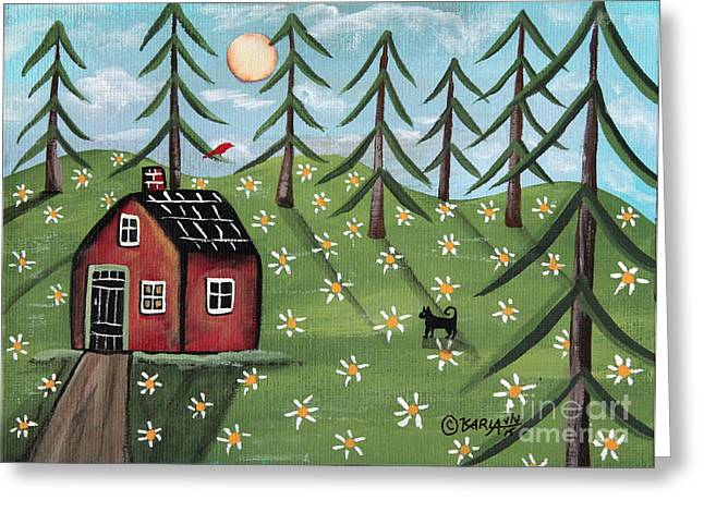 """house Cat"" Greeting Cards - Summer Cabin Greeting Card by Karla Gerard"