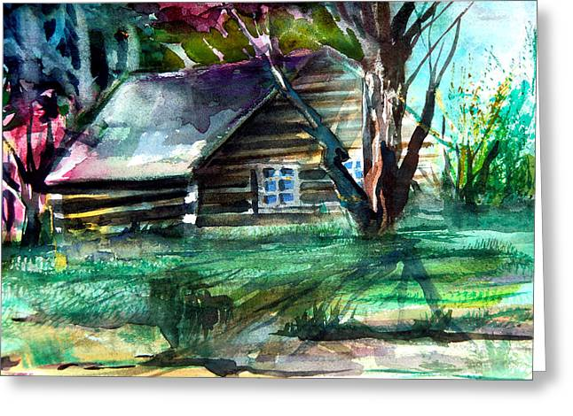 Pioneer Homes Drawings Greeting Cards - Summer Cabin Greeting Card by Mindy Newman