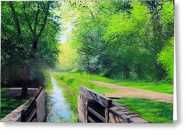 Summer Canal Lock Greeting Card by David Bottini