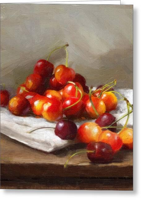 Cherry Paintings Greeting Cards - Summer Cherries Greeting Card by Robert Papp