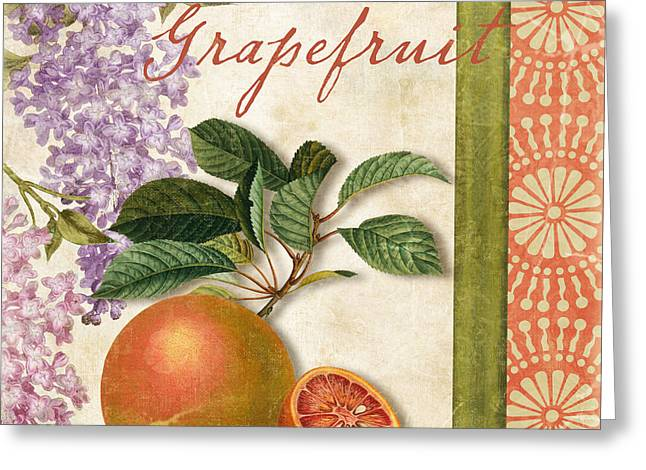 Lilac Greeting Cards - Summer Citrus Grapefruit Greeting Card by Mindy Sommers