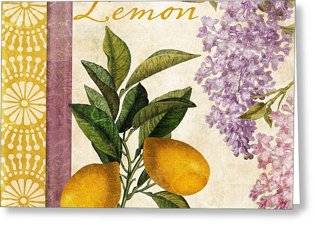 Citrus Fruits Greeting Cards - Summer Citrus Lemon Greeting Card by Mindy Sommers