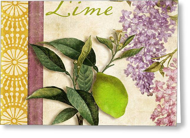 Lilac Greeting Cards - Summer Citrus Lime Greeting Card by Mindy Sommers