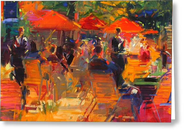 European Restaurant Greeting Cards - Summer Cocktails  Greeting Card by Peter Graham
