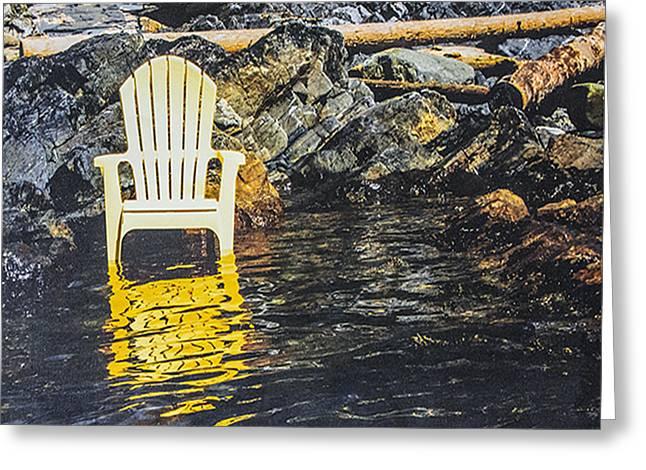 Adirondak Chair Greeting Cards - Summer Conversations Yellow Greeting Card by Marsha del Sol Mildon