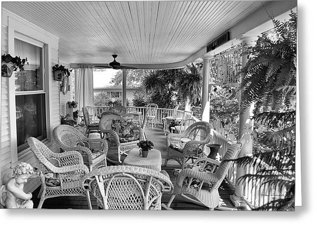 Table And Chairs Mixed Media Greeting Cards - Summer Day On The Victorian Veranda BW 01 Greeting Card by Thomas Woolworth