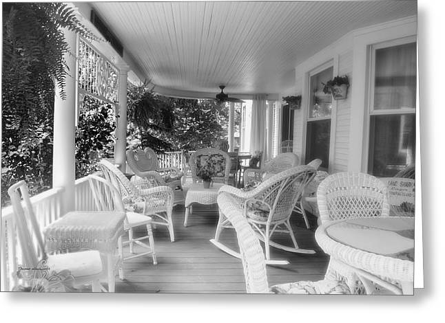 Rocking Chairs Mixed Media Greeting Cards - Summer Day On The Victorian Veranda BW 02 Greeting Card by Thomas Woolworth