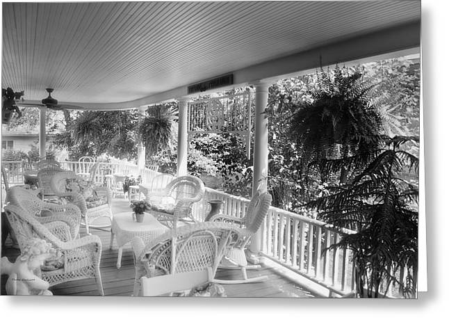 Rocking Chairs Mixed Media Greeting Cards - Summer Day On The Victorian Veranda BW 03 Greeting Card by Thomas Woolworth