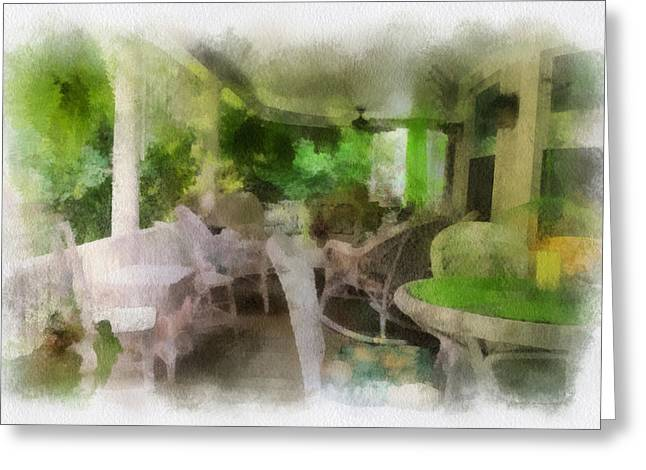Rocking Chairs Mixed Media Greeting Cards - Summer Day On The Victorian Veranda PA 01 Greeting Card by Thomas Woolworth