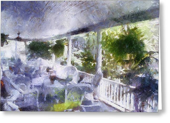 Rocking Chairs Mixed Media Greeting Cards - Summer Day On The Victorian Veranda PA 02 Greeting Card by Thomas Woolworth