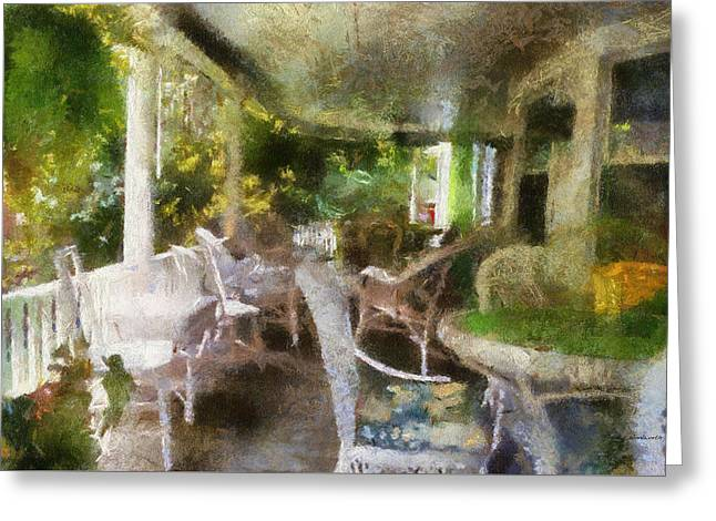 Rocking Chairs Mixed Media Greeting Cards - Summer Day On The Victorian Veranda PA 04 Greeting Card by Thomas Woolworth