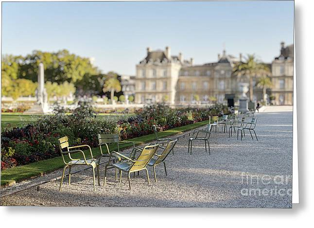 Lawn Chair Greeting Cards - Summer day out at the Luxembourg garden Greeting Card by Ivy Ho