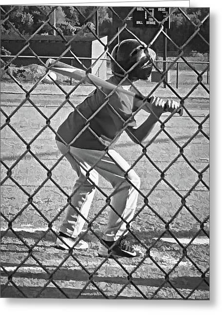 Summer Days - Little League Batter 1b - Bw Greeting Card by Greg Jackson