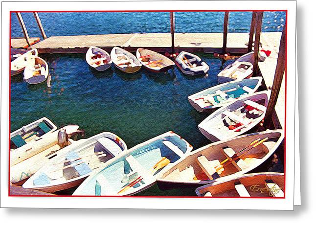 Row Boat Greeting Cards - Summer Dock Greeting Card by Ernestine Grindal