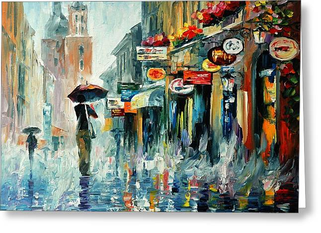 Popular Art Greeting Cards - Summer Downpour 2 - PALETTE KNIFE Oil Painting On Canvas By Leonid Afremov Greeting Card by Leonid Afremov
