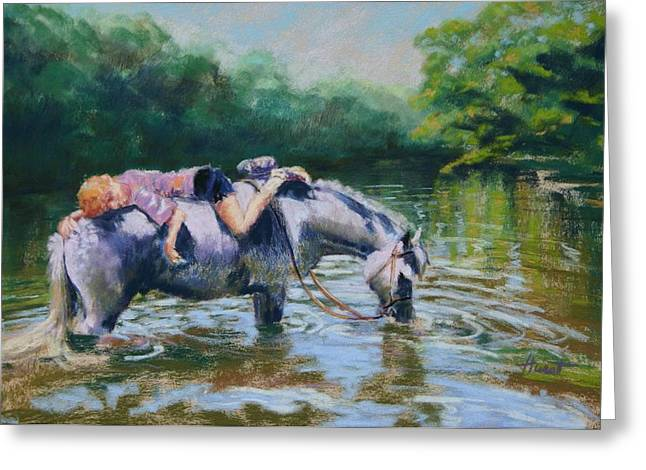 Equine Pastels Pastels Greeting Cards - Summer Dreams Greeting Card by Elaine Hurst