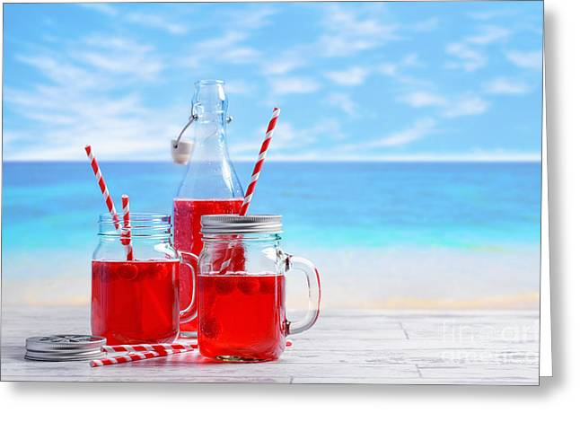 Raspberries Greeting Cards - Summer Drinks At The Beach Greeting Card by Amanda And Christopher Elwell