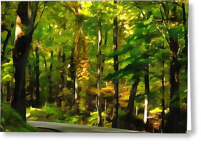 Turning Leaves Mixed Media Greeting Cards - Summer Drive In The Country Greeting Card by Dan Sproul