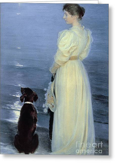 A Summer Evening Greeting Cards - Summer Evening at Skagen Greeting Card by Peder Severin Kroyer