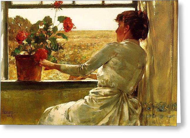 Ledge Greeting Cards - Summer Evening Greeting Card by Frederick Childe Hassam