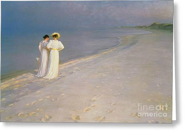 Footprint Greeting Cards - Summer Evening on the Skagen Southern Beach with Anna Ancher and Marie Kroyer Greeting Card by Peder Severin Kroyer