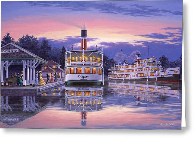Steam Ship Greeting Cards - Summer Evening Greeting Card by Richard De Wolfe