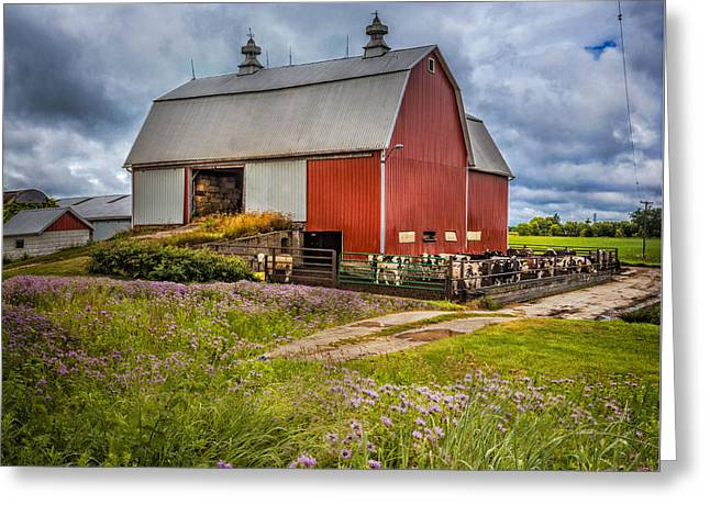 Old Barns Greeting Cards - Summer Farm Greeting Card by Debra and Dave Vanderlaan